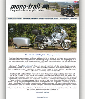 Mono-Trail Single Wheel Motorcycle Trailers